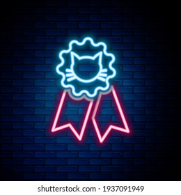 Glowing neon line Cat award symbol icon isolated on brick wall background. Medal with cat footprint as pets exhibition winner concept. Colorful outline concept. Vector