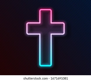 Glowing neon line Christian cross icon isolated on black background. Church cross.  Vector Illustration