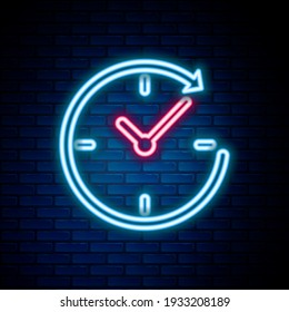 Glowing neon line Clock with arrow icon isolated on brick wall background. Time symbol. Clockwise rotation icon arrow and time. Colorful outline concept. Vector