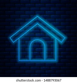 Glowing neon line Dog house icon isolated on brick wall background. Dog kennel.  Vector Illustration
