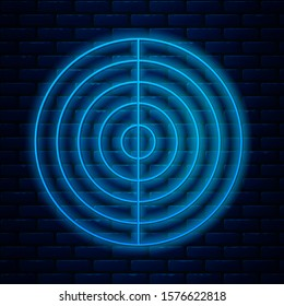 Glowing neon line Earth structure icon isolated on brick wall background. Geophysics concept with earth core and section layers earth.  Vector Illustration