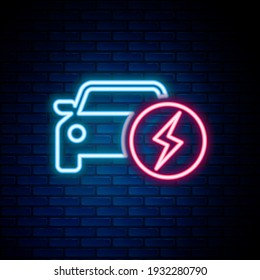 Glowing neon line Electric car and electrical cable plug charging icon isolated on brick wall background. Renewable eco technologies. Colorful outline concept. Vector
