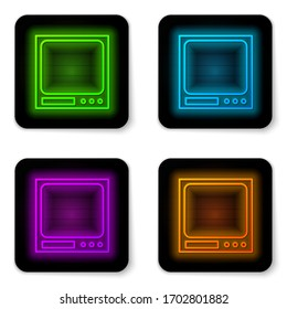 Glowing neon line Electronic scales icon isolated on white background. Weight measure equipment. Black square button. Vector Illustration