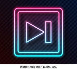 Glowing neon line Fast forward icon isolated on black background.  Vector Illustration