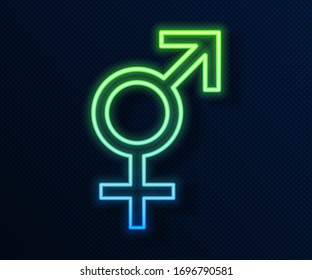 Glowing neon line Gender icon isolated on blue background. Symbols of men and women. Sex symbol.  Vector Illustration