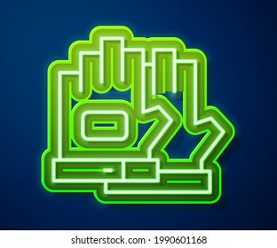Glowing neon line Gloves icon isolated on blue background. Extreme sport. Sport equipment.  Vector