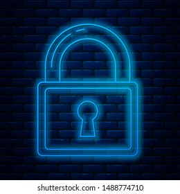 Glowing neon line Lock icon isolated on brick wall background. Padlock sign. Security, safety, protection, privacy concept.  Vector Illustration