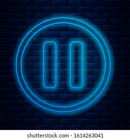 Glowing neon line Pause button icon isolated on brick wall background.  Vector Illustration
