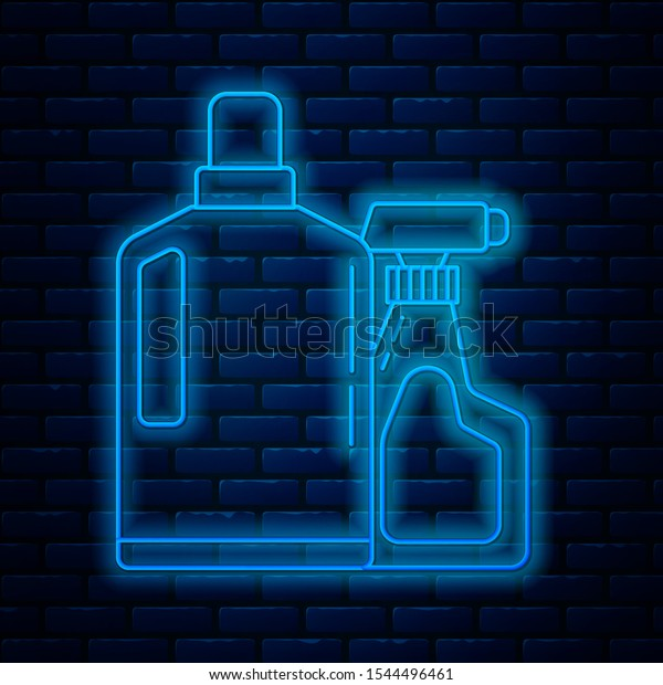 Glowing neon line Plastic bottles for liquid laundry detergent, bleach, dishwashing liquid or another cleaning agent icon isolated on brick wall background.  Vector Illustration