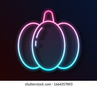 Glowing neon line Pumpkin icon isolated on black background. Happy Halloween party.  Vector Illustration