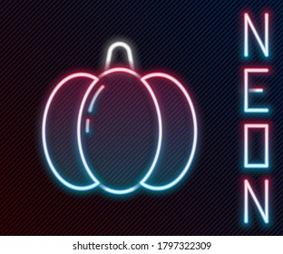 Glowing neon line Pumpkin icon isolated on black background. Happy Halloween party. Colorful outline concept. Vector Illustration