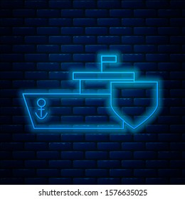 Glowing neon line Ship with shield icon isolated on brick wall background. Insurance concept. Security, safety, protection, protect concept.  Vector Illustration