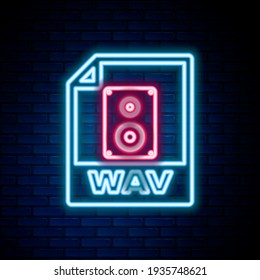 Glowing neon line WAV file document. Download wav button icon isolated on brick wall background. WAV waveform audio file format for digital audio riff files. Colorful outline concept. Vector