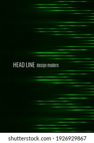 Glowing neon lines moving fast on a dark background. Green stripes and glittering ray traces on a dark background. Futuristic design. Vector illustration