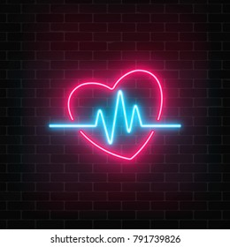 Glowing neon medicine concept sign with cardiogram graph in heart shape on a brick wall background. Drugstore or hospital luminous advertising signboard. Vector illustration.