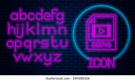 Glowing neon MP4 file document. Download mp4 button icon isolated on brick wall background. MP4 file symbol. Neon light alphabet. Vector Illustration