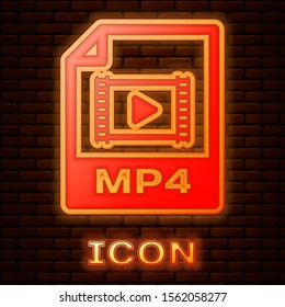 Glowing neon MP4 file document. Download mp4 button icon isolated on brick wall background. MP4 file symbol.  Vector Illustration