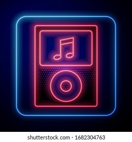 Glowing neon Music player icon isolated on blue background. Portable music device.  Vector Illustration