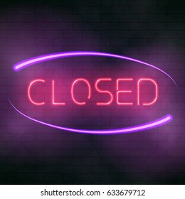 Glowing neon open sign. Luminous text. Vector illustration of the lucent letters on the brick wall background