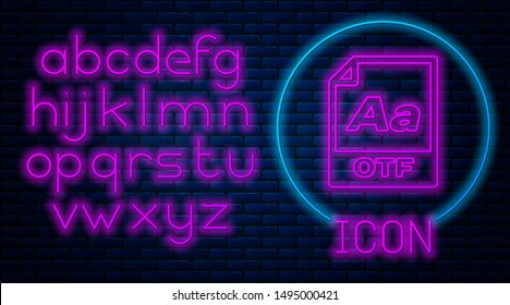 Glowing neon OTF file document. Download otf button icon isolated on brick wall background. OTF file symbol. Neon light alphabet. Vector Illustration