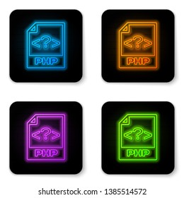Glowing neon PHP file document icon. Download php button icon isolated on white background. PHP file symbol. Black square button. Vector Illustration