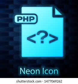 Glowing neon PHP file document. Download php button icon isolated on brick wall background. PHP file symbol.  Vector Illustration