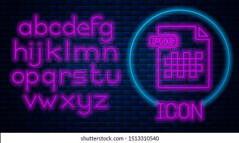 Glowing neon PNG file document. Download png button icon isolated on brick wall background. PNG file symbol. Neon light alphabet. Vector Illustration