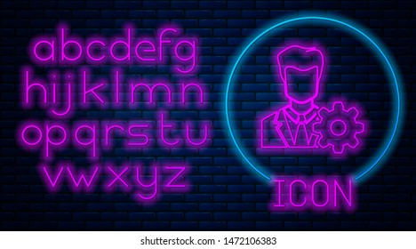 Glowing neon Profile settings icon isolated on brick wall background. User setting icon. Profile Avatar with cogwheel. Account icon. Male person silhouette. Neon light alphabet. Vector Illustration