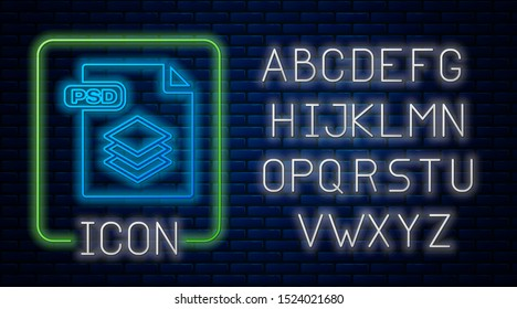 Glowing neon PSD file document. Download psd button icon isolated on brick wall background. PSD file symbol. Neon light alphabet. Vector Illustration