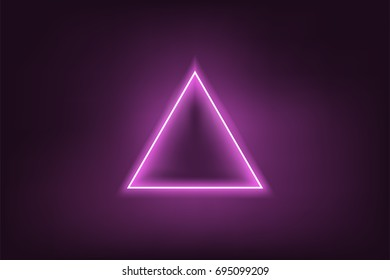 Glowing neon purple triangle on dark purple background. Mesh gradient objects. Vector illustration.