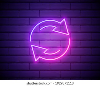 Glowing neon Refresh icon isolated on brick wall background. Reload symbol. Rotation arrows in a circle sign. Vector Illustration.