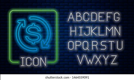 Glowing neon Return of investment icon isolated on brick wall background. Money convert icon. Refund sign. Dollar converter concept. Neon light alphabet. Vector Illustration