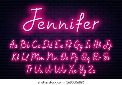 Glowing neon script alphabet. Neon font with uppercase and lowercase letters. Handwritten english alphabet with neon light effect. Vector