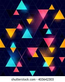 Glowing neon seamless pattern. Vector illustration.