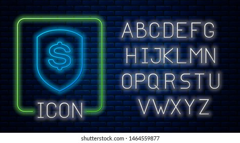 Glowing neon Shield and dollar icon isolated on brick wall background. Security shield protection. Money security concept. Neon light alphabet. Vector Illustration