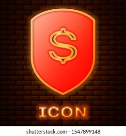 Glowing neon Shield and dollar icon isolated on brick wall background. Security shield protection. Money security concept.  Vector Illustration