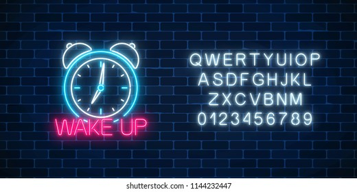 Glowing neon sign with alarm clock and motivation text on dark brick wall background. Call to action symbol with cheering inscription. Its time to work. Vector illustration.