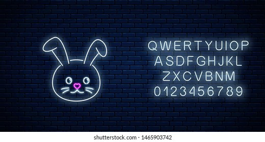 Glowing neon sign of cute rabbit in kawaii style with alphabet on dark brick wall background. Cartoon happy smiling bunny in neon style. Vector illustration.