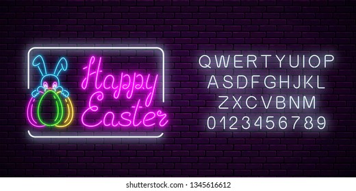 Glowing neon sign of easter bunny with eggs and greeting text with alphabet on dark brick wall background. Night greeting banner with easter rabbit. Vector illustration.
