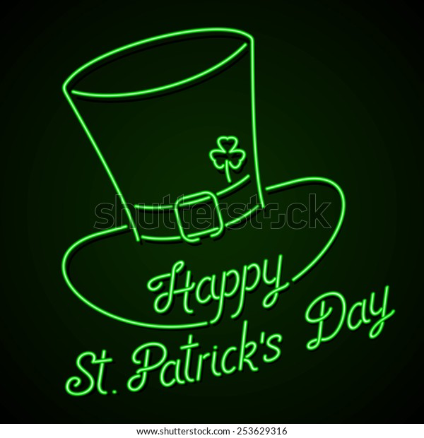 d06f541d Glowing neon sign - Happy St. Patrick's Day lettering with leprechaun hat  and shamrock on