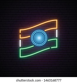 Glowing neon sign with indian flag. Vector illustration.