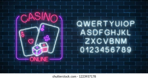 Glowing neon sign of online casino application in rectangle frame with alphabet on dark brick wall background. Casino bright signboard. Internet gambling banner. Vector illustration.