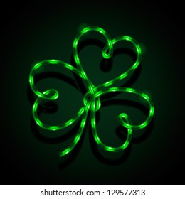 Glowing neon sign - Shamrock. Vector illustration.