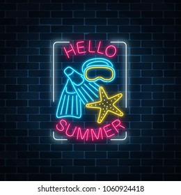 Glowing neon sign of summer begin party with sea star, flippers and mask symbols in rectangle frame on dark brick wall background. Summer begin party leaflet. Vector illustration.
