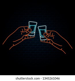 Glowing neon sign with two hands clinking vodka or tequila shots. Vector isolated illustration. Icon for night bar background. Led luminous sign for pub signboard.
