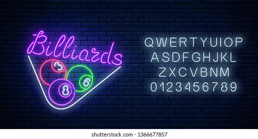 Glowing neon signboard of bar with billiards with alphabet on brick wall background. Night advertising symbol of taproom with pool game. Billiard balls in triangle frame. Vector illustration.