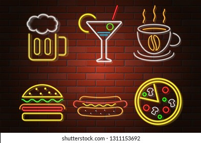 glowing neon signboard fast food and drink vector illustration isolated on white background