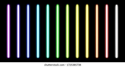 Glowing neon sticks. Fluorescent beams of laser light