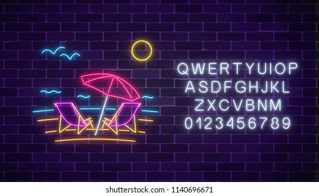 Glowing neon summer sign with chaise lounges, beach umbrella, ocean, gulls and alphabet on dark brick wall background. Shiny summertime symbol. Deck chairs under umbrella on beach. Vector illustration