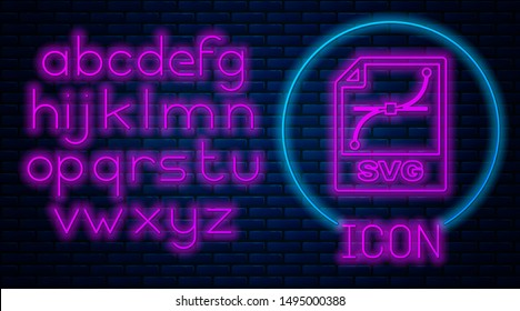 Glowing neon SVG file document. Download svg button icon isolated on brick wall background. SVG file symbol. Neon light alphabet. Vector Illustration